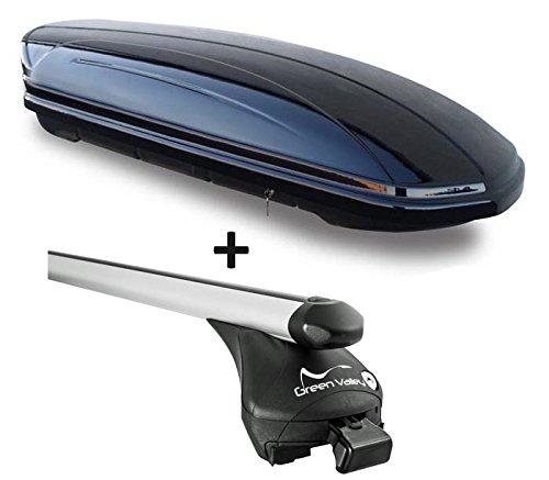 VDP Dachbox schwarz glänzend MAA 460G Auto Dachkoffer 460 Liter abschließbar + Alu-Relingträger Dachgepäckträger Quick aufliegende Reling im Set Alu kompatibel mit Audi Q7 2006-2015 bis