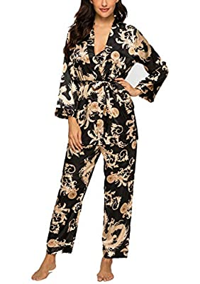 HOUSEPLANT Women's Floral Silk Satin Pajamas Set Sleepwear 3Pcs Nightwear Long Sleeve Pyjamas with Belt (Black, X-Large)