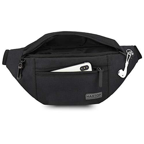 MAXTOP Bumbag Waist Fanny Pack Running Belt for Men Women Unisex Bum Bag with Headphone Jack and 4-Zipper Pockets Adjustable Belt for Outdoors Workout Hiking Gifts For Men Women