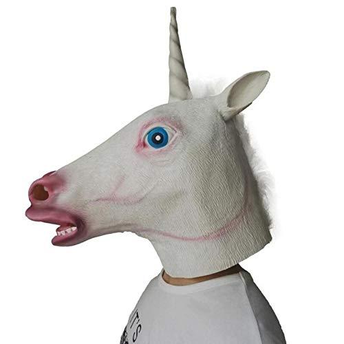 Paard hoofd masker Unicorn masker volledig gezicht Halloween Cosplay nieuwigheid griezelig hoofd theater dier kostuum Prop partij Latex masker, Unicone