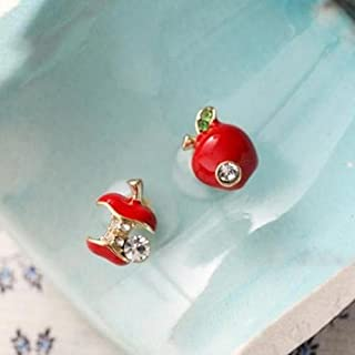 Fashion Sweet Lovely Crystal Rhinestone Apple Core Ear Studs Earrings Red