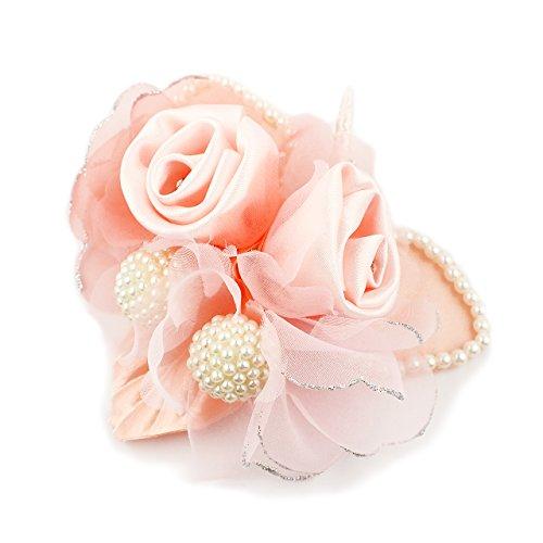 (クレインズコレクション) 手作り パール コサージュ ブローチ ピン フォーマル シーンや エレガント な装いに (ピンク)