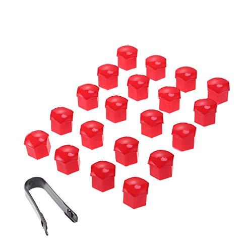 VOSAREA 21 en 1 Boulon écrou de Roue Capuchons Protection Hexagonal pour écrous de Roue Universel Cache Vis écrou de Protection avec Pince Rouge 17mm