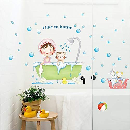 Wandsticker Tapeten Tapeten Dekorative Wand Co Badezimmer WC Wasserdichte Wand Aufkleber Kinderzimmer Dekoration Tapete Selbstklebende Kindergarten Cartoon Wandaufkleber entfernbare Wand-Aufkleber