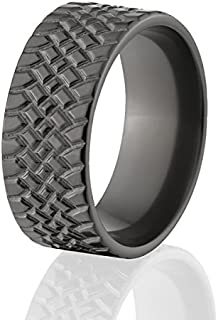 Black Zirconium Ring Tire Tread Ring USA Made Tire Wedding Bands And Tire Rings