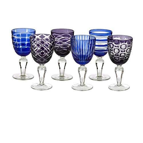Pols Potten - Weingläserset mit Schliff Cobalt Mix - 6er Set - Weingläser in 6 verschiedenen Farben, 6 verschiedenen Schliffen - spülmaschinengeeignet - Blau/Violett
