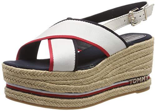 Tommy Hilfiger Flatform Sandal Corporate Ribbon, Sandalias con Plataforma Mujer, Rojo (RWB 020), 39 EU
