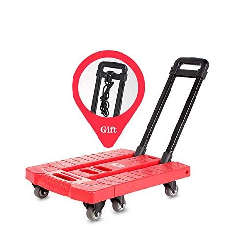 SHARESUN Carretillas Plegables, carretillas de Carga, Carro Transporte Plegable, Carretilla Plegable,Rueda Carretilla,Carro Plegable, rodamiento de 200 kg,Rojo