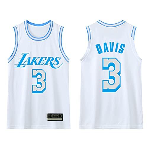 GAOXI Uniforme de Baloncesto de Lakers, versión de la Ciudad de Davis No. 3 Malla Transpirable Clase de niños personalización White-M