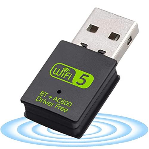 Adaptateur USB WiFi Bluetooth,Clé WiFi Double Bande 2.4/5.8 GHz 600Mbps Mini USB WiFi Adaptateur Driver Free pour Portable PC de Bureau Windows XP/Vista/7/8/10