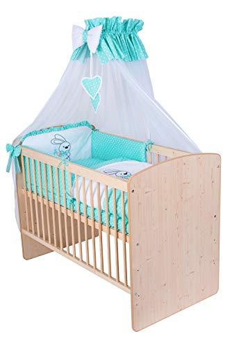 KMbaby Babybett K2 Naturholz Farbe 120x60 mit 10tlg Bettwäsche Set Matratze Gitterbett Turkus Minze Hase