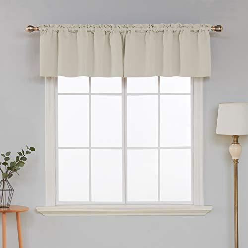 Deconovo Window Valances Rod Pocket Blackout Valances Curtain Kitchen Valance Curtains Tier for Small Window 42x18 Inch Light Beige 1 Panel