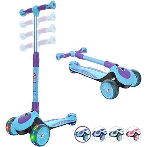 Allek F01 Folding Kick Scooter for Kids 3Wheel LED Flashing Glider Push Scooter with Height Adjustable and Foldable Handlebar Dual Color AntiSlip Wide Deck for Boys Girls 312 Aqua/Violet