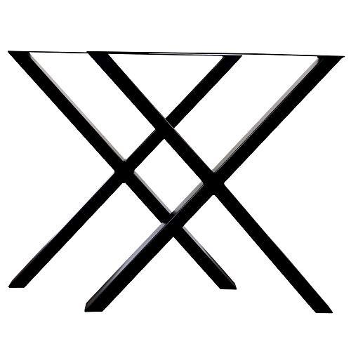 LOFTSTORY Set 2 Patas de Mesa Acero Hierro, Ideal para Muebles de Comedor Salon Centro Despacho Oficina, Hecho a Mano Forma X, Estilo Industrial Loft Vintage Negro 70x72 cm