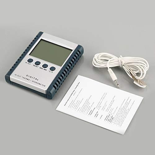 Ashley GAO Mini medidor digital de temperatura de humedad pantalla LCD higrómetro termómetro sensor interior al aire libre calendario reloj