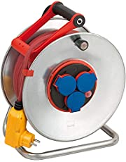 Brennenstuhl Garant S Bretec FI IP44 kabelhaspel, 40m - plaatstaal (permanent gebruik buiten, Made in Germany) zilver