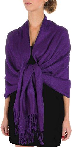 Sakkas Soft Pashmina Feel Paisley Design Schal / Stola - Plum