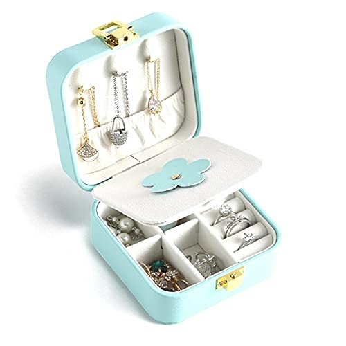 Organizador portátil de joyería de Viaje, Estuche de Almacenamiento de Cuero PU con Pendiente de Espejo, Collar, Caja de joyería para Mujeres y niñas Adolescentes