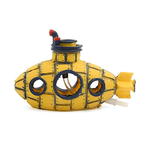 uxcell Aquarium Fish Tank Decoration Bubble Maker Yellow Spaceship Ornament 13x6x8cm