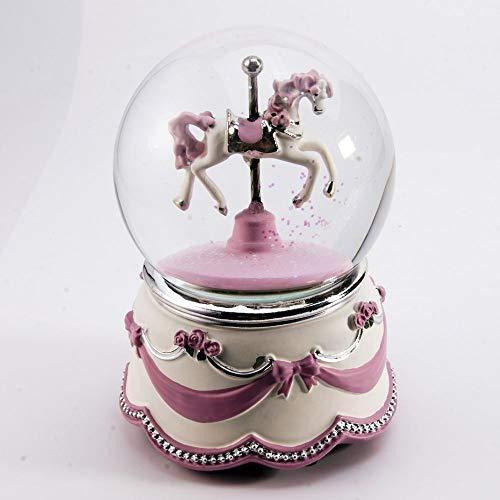 MusicBoxAttic Aanbiddelijke Animated Carousel Horse Water Globe Met Roze Lint En Rozen Base - Meer dan 400 Liedjes Keuzes