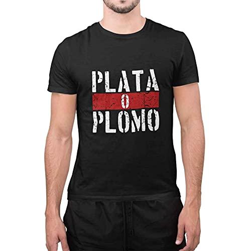 CHEMAGLIETTE! T-Shirt Uomo Divertente Maglietta Maniche Corte 100% Cotone con Stampa Plata o Plomo Nero, XXL