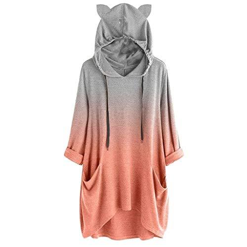 💛 Eaylis Swatshirt Sportbekleidung Hoodie Damen LangäRmliger, Weiter Kapuzenpullover Mit Farbverlauf Und Kapuze, Mehrfarbig S-XXXL