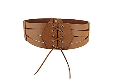 Women Elastic High Waist Cinch Belt Faux PU Leather and Stretch Sash for Ladies Wide Band Corset Belt Plus (Brown,XL)