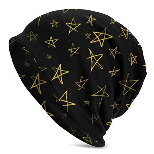 Gorro de Punto de Invierno con Estrellas Doradas Dibujadas a Mano en el Cielo Nocturno para Hombres y Mujeres, cálido, elástico, cómodo y Suave tobogán Diario