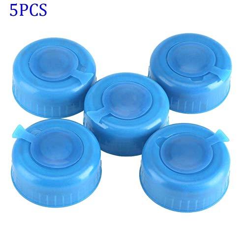LAQI 5Pcs Plastikgallonen-Trinkwasser-Flaschen-Schraube auf Kappen-Wiedereinbau-Gallonen-Wasser-Flaschen-Kappen-Antispritzen-Deckel-Blau
