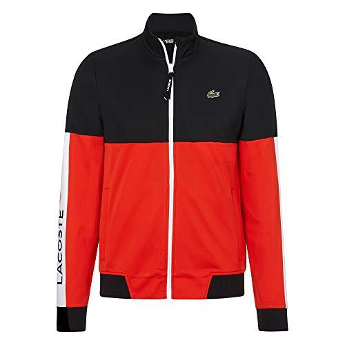 Lacoste Herren SH4836 Sweatjacke, Männer Sweatshirt Reißverschluss, Regular Fit,Black/Corrida-White(G54),XXX-Large (8)