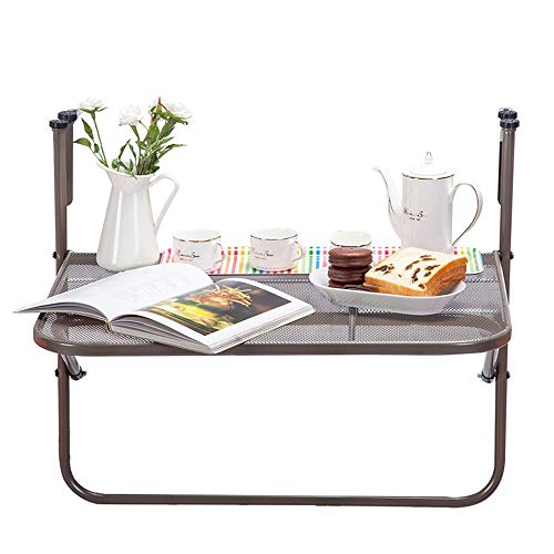 LLA salontafel, metaal, inklapbaar, balkon, dek, tafel, instelbare hoogte hangen, leuning, rek, multifunctioneel opbergrek, 4 kleuren Champagne zilver