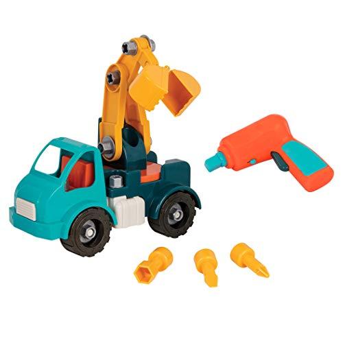 Battat – Montage Kranwagen Konstruktionsspielzeug ab 3 Jahren – Fahrzeug zum Selbstbauen mit funktionsfähigem Akkuschrauber – Pädagogisches Spielzeug für Kinder ab 3 Jahren (34 Teile)