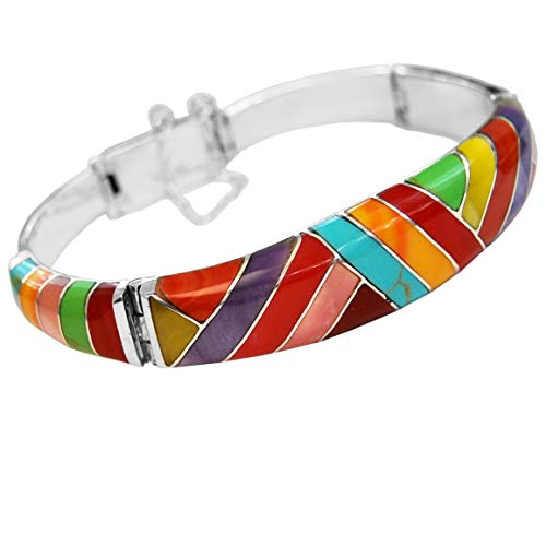 Calani Armband Artesanal aus 925 Silber mit Steinen in Diagonalfarben, hergestellt in Taxco, Mexiko. Durchmesser: 5.2cm Gewicht: 32g