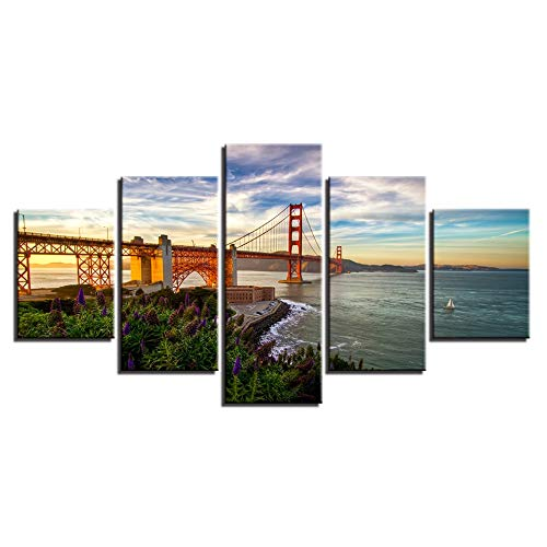 5 Canvas paintings Wall Artwork Modern HD Printed Paintings The Golden Gate Bridge View Posters Home Decor Pictures Canvas Frameless