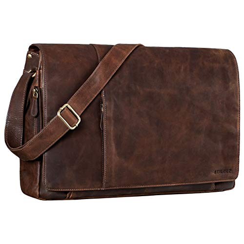 STILORD 'Maximus' XXL Leather Messenger Bag Very Large Messenger Bag Shoulder Cross-Body Bag Notebooks 21 inches Real Buff Leather, Colour:Crunchy - Dark Brown