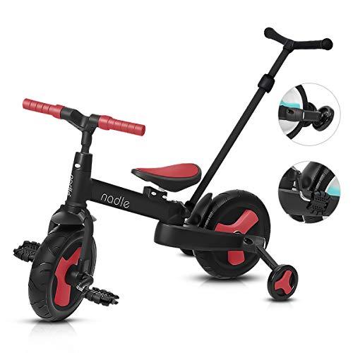 OLYSPM 4 in 1 Triciclo Pieghevole per Bambini,Triciclo per Bambini,Bicicletta Senza Pedali,Corpo più Grande,Pieghevole Maniglione,per 1-6 Anni Baby Boys Girls(Rosso)