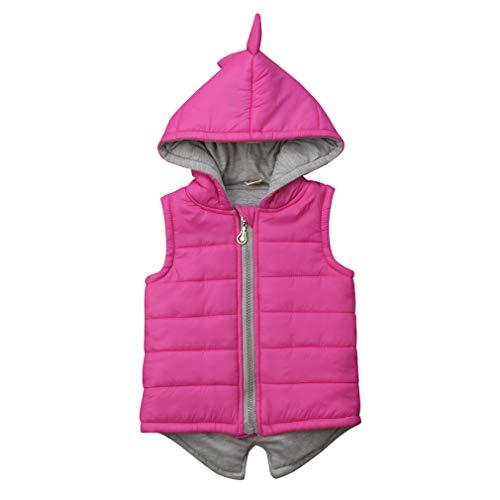 BULINGNA Chaleco de dinosaurio sin mangas con capucha para niños y niñas con cremallera - rosa - 12-24 meses