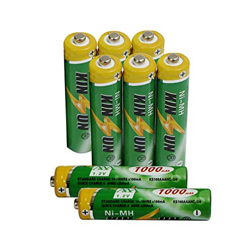 KINSUN 8-Pack NiMH AAA Rechargeable Batteries 1.2V 1000mAh for Cordless Phone Walkie-Talkie Remotes Solar Garden Lights