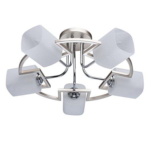DeMarkt 673011705 Deckenleuchte Jugendstil Perlgold Metall Matten Weißen Glassschirmen gerundet 5 Flammig x 60W E14