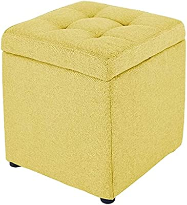 Ottoman Footrest Stool Pouffes and Footstools Storage Square Structure Solid Wood Frame Stable Support Cotton Cloth Breathable No Fading, 10 (Color : Yellow, Size : 30X30X35cm)