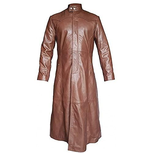 Gabardina larga para hombre de cuero real sexy negro y marrón capa matriz goth abrigos estilo gótico, Marrón - Cuero Real, M