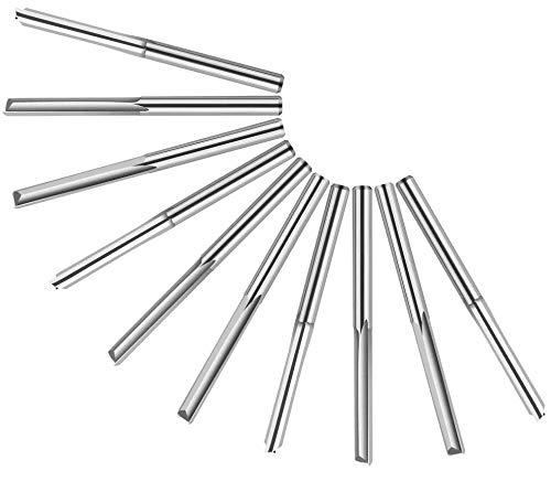 Mitening 10 Stück 2 Flöte Gerade Fräser, Doppelschneider Gerade Schlitzfräser, 3.175 mm Wolframstahl Schaftfräser CNC Fräser für Bits Holz MDF, Nutlänge 22 mm