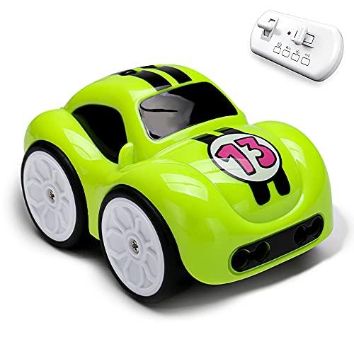 le-idea Coche Teledirigido con Mando a Distancia de 2.4 GHz, Modo de Seguimiento, Caminos de Creación Propia, Mini Coche de 4 Modos de Juego con Música, con Batería Recargable, Regalo para Niños