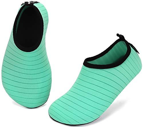 SAGUARO Escarpines Niño Niña para Buceo Snorkel Surf Natación Piscina Vela Mares Rocas Río Zapatos para Agua Bebe Calzado Playa Zapatillas Deportes Acuáticos(033 Verde, 22/23 EU)