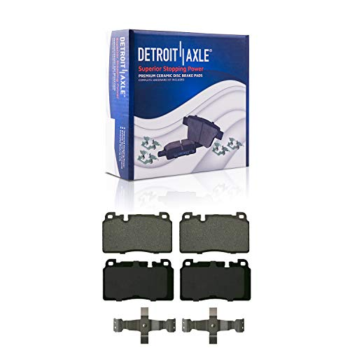 Detroit Axle - Front Ceramic Brake Pads w/Hardware for 2013-2017 Audi Q5 Truck SUV (excluding Hybrid)