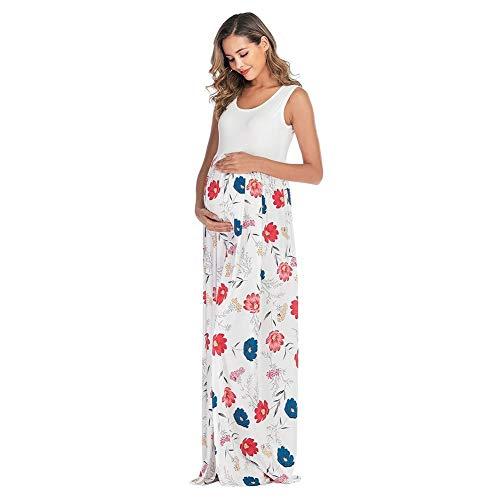 IMEKIS Damen Mutterschafts Kleid Ärmelloses Sommerkleid Blumendruck Umstandskleid Schwangere Fotoshooting Kleid Schwangerschaft Lang Partykleid Freizeit Faltenkleid Weiß M