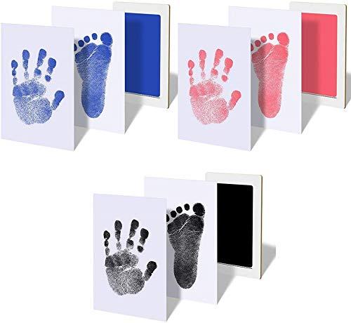 Sierra hand- en voetafdruk-pad voor baby's van 0 tot 6 maanden. De afdruk wordt zonder contact tussen baby en inkt gedrukt. Een klein cadeau-idee. 0- 6 mesi, superficie stampabile 9,5 x 5,7 cm zwart.