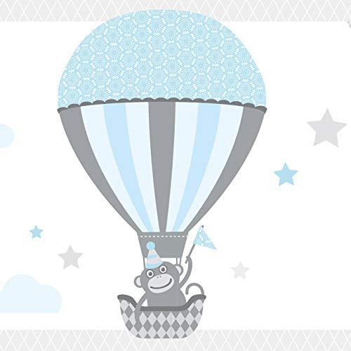 Anna Wand Bordüre selbstklebend HOT AIR Balloons - Wandbordüre Kinderzimmer/Babyzimmer mit Tieren & Heißluftballons in Hell-Blau/Grau – Wandtattoo Schlafzimmer Mädchen & Junge, Wanddeko Baby/Kinder