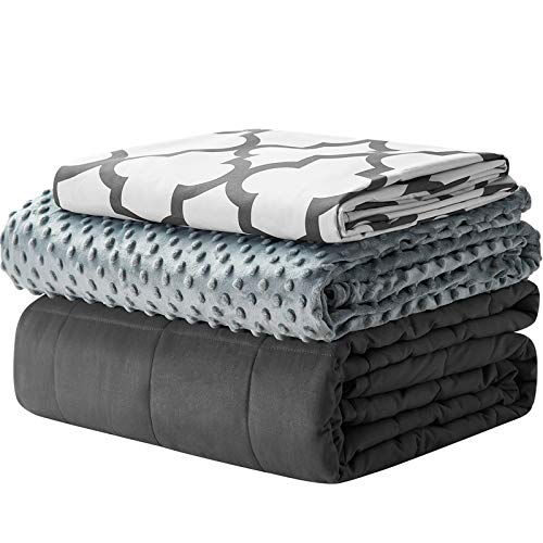 YnM Weighted Blanket and Duvet Covers — Hot and Cold Duvet Cover Set (3 Pieces) — (Lattice Scroll, 60