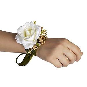 Silk Flower Arrangements Bridals By Ada Thalia Wrist Corsage, Handmade Artificial Flowers, Corsage Wristlet, Burgundy Flowers for Rustic Wedding Theme (5PCS/Pack)